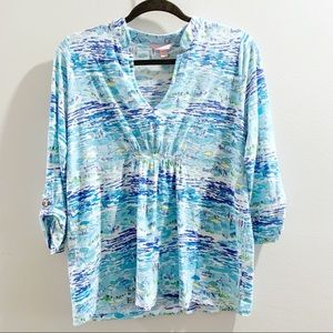 Lilly Pulitzer Blue Beach Print V Neck Top Size M